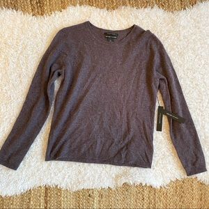 TAHARI NWT Luxe 100% Cashmere Purple Sweater Large